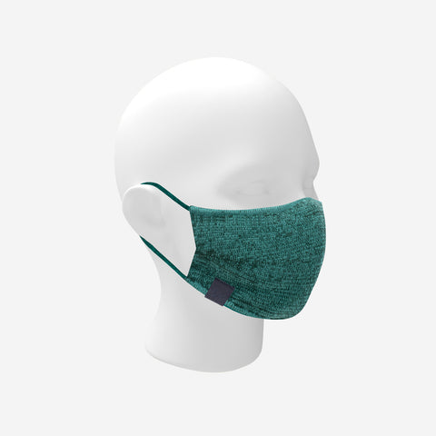 Adult Hunter Green and Seafoam Speckled Cotton Seamless 3D Knit Face Mask