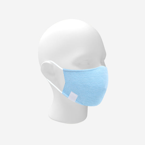 Adult Light Blue and White Speckled Cotton Seamless 3D Knit Face Mask
