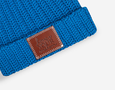 Bright Blue Kids Double Pom Beanie (Natural Poms)