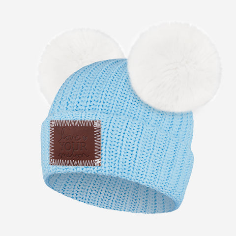 Light Blue Kids Double Pom Beanie (White Poms)