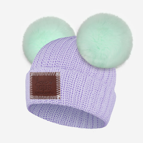 Light Purple Kids Double Pom Beanie (Seafoam Poms)
