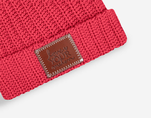 Bright Pink Kids Double Pom Beanie (Light Pink Poms)