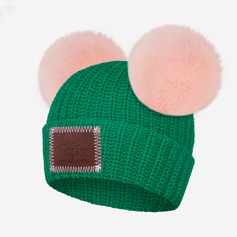Pine Green Kids Double Pom Beanie (Light Pink Poms)