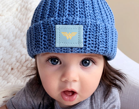 Wonder Woman™ Soft Blue Baby Beanie