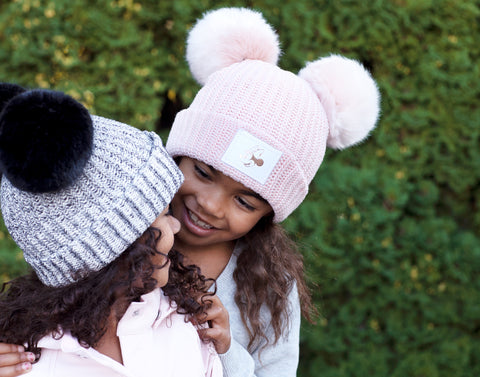 Kids Blush Minnie Mouse Rose Gold Foil Double Pom Beanie
