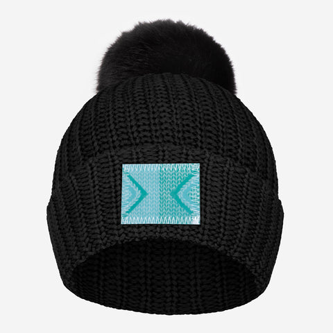 Black Pom Beanie (Lenticular Patch)
