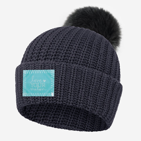Dark Charcoal Pom Beanie (Lenticular Patch)