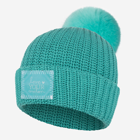 Teal Pom Beanie (Lenticular Patch)