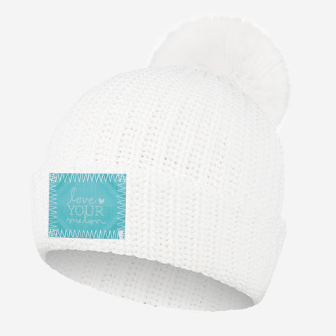 White Pom Beanie (Lenticular Patch)
