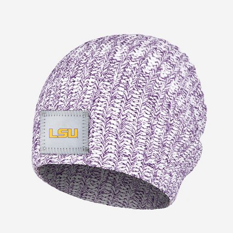 LSU Tigers White and Purple Speckled Beanie