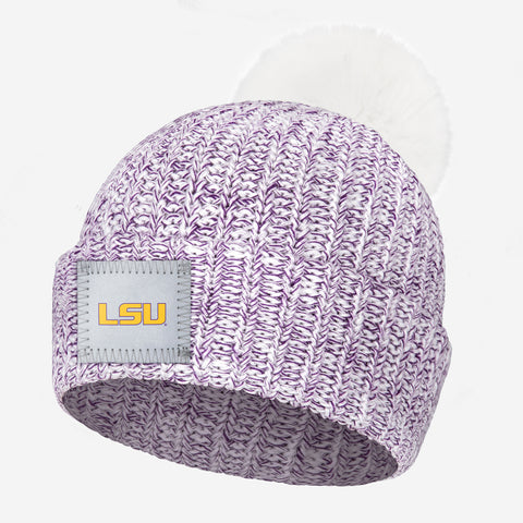 LSU Tigers White and Purple Speckled Pom Beanie (White Pom)