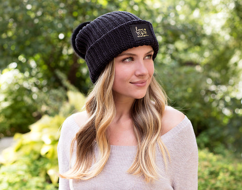 Black Gold Foil Pom Beanie-Beanie-Love Your Melon