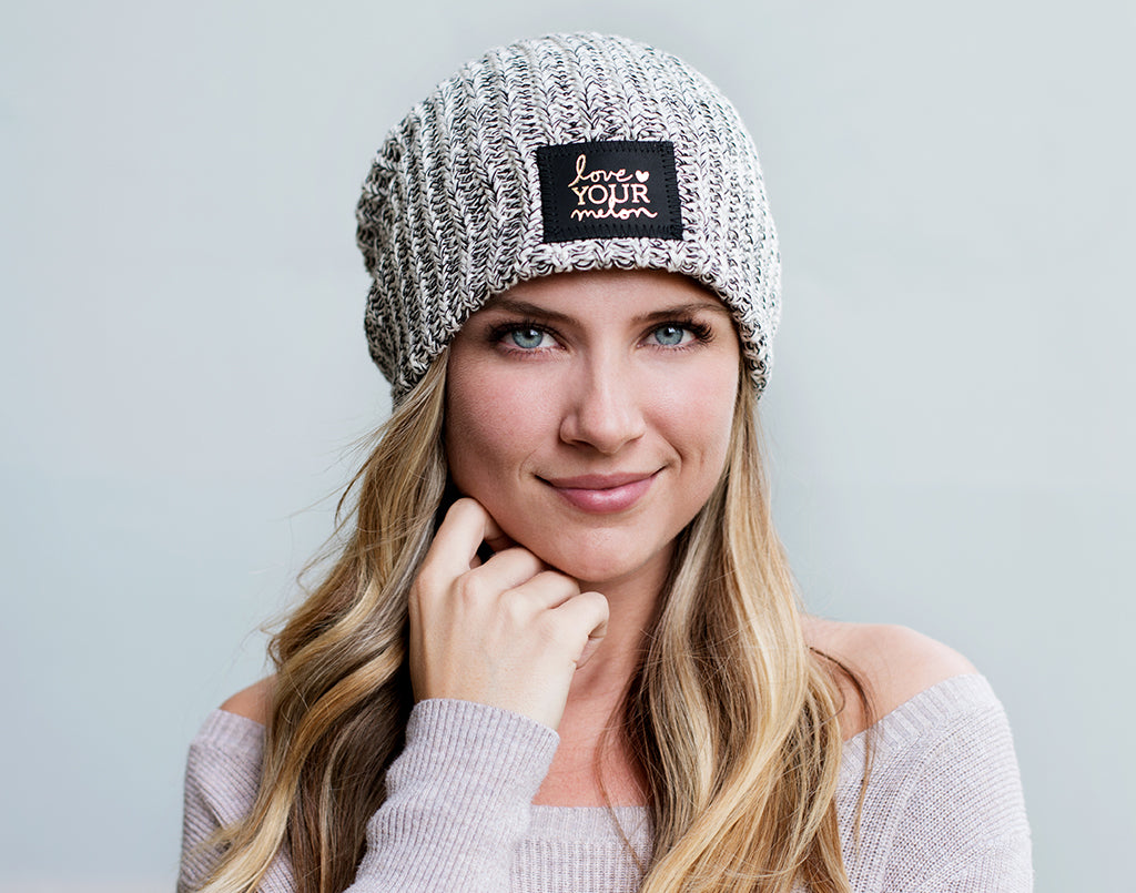Love Your Melon Black Speckled Gold Foil Beanie 5d3a2d35c7c