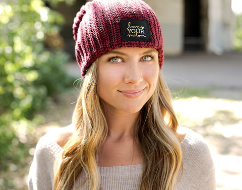 Burgundy Gold Foil Beanie-Beanie-Love Your Melon