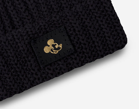 Mickey Mouse Baby Black Gold Foil Cuffed Beanie