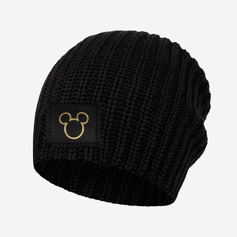 Mickey Mouse Black Gold Foil Cut Out Beanie