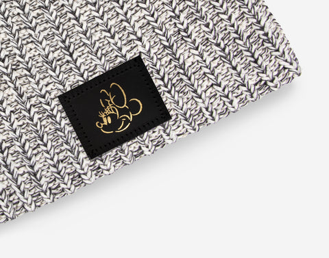 Minnie Mouse Black Speckled Gold Foil Face Outline Beanie