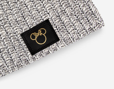 Minnie Mouse Black Speckled Gold Foil Cut Out Beanie