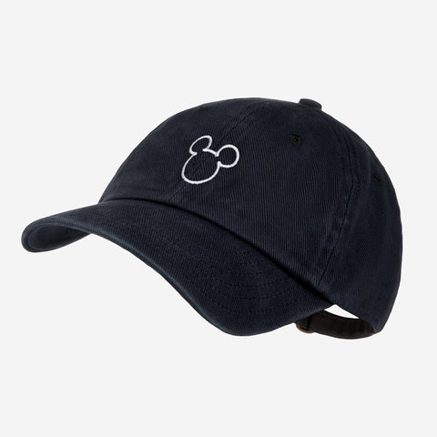 Mickey Mouse Outline Black Denim Washed Cap