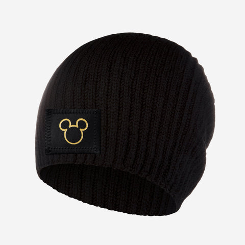 Mickey Mouse Outline Gold Foil Black Cashmere Beanie