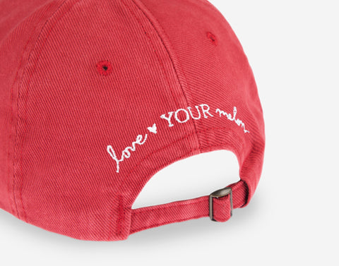 Minnie Mouse Outline Crimson Denim Washed Cap