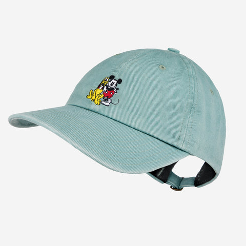 Mickey Mouse and Pluto Sea Glass Denim Washed Cap