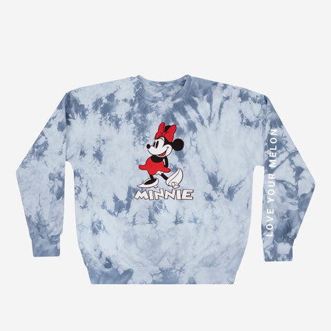 Minnie Mouse Gray Tie Dye Crew Neck