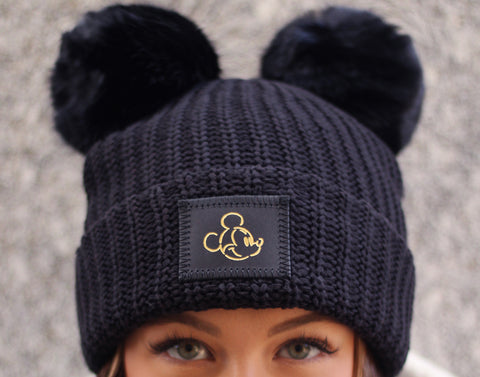 Mickey Mouse Black Gold Foil Face Outline Double Pom
