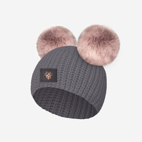 Minnie Mouse Light Charcoal Lightweight Baby Double Pom Beanie