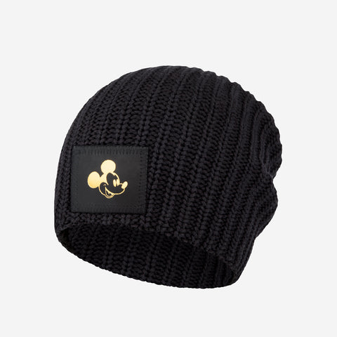 Kids Black Mickey Mouse Gold Foil Beanie