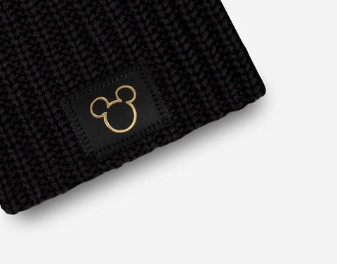 Mickey Mouse Black Gold Foil Cut Out Kids Beanie