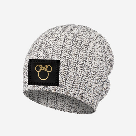 Minnie Mouse Black Speckled Gold Foil Cut Out Kids Beanie