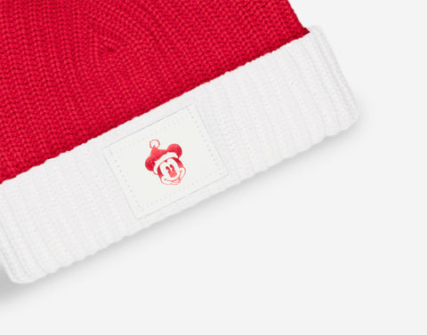 Kids Mickey Mouse Red and White Pom Beanie