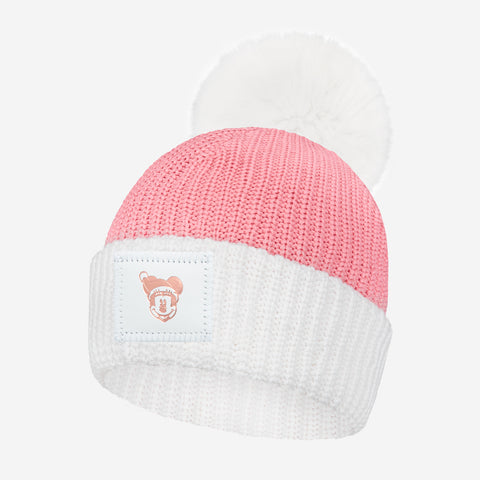 Kids Minnie Mouse Pink and White Pom Beanie