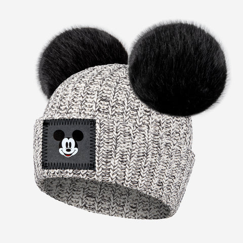 Kids Black Speckled Mickey Mouse Double Pom Beanie