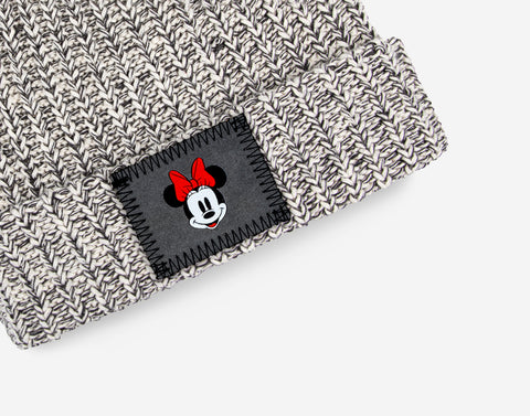 Kids Black Speckled Minnie Mouse Double Pom Beanie