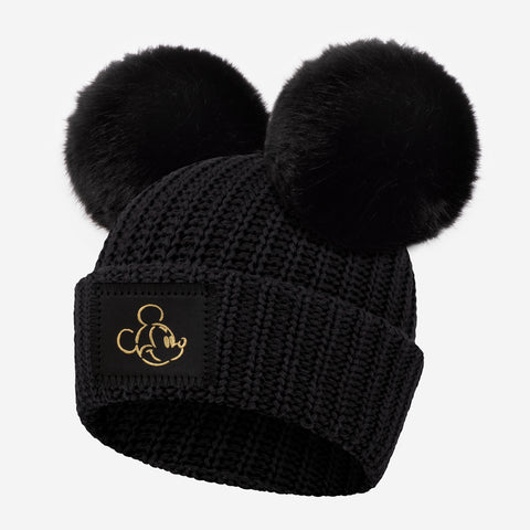 Mickey Mouse Black Gold Foil Face Outline Kids Double Pom