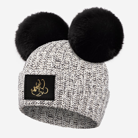 Minnie Mouse Black Speckled Gold Foil Face Outline Kids Double Pom
