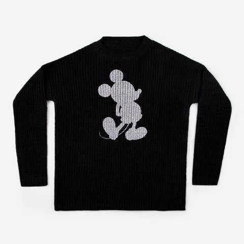 Mickey Mouse Silhouette Printed Black Knit Crewneck Sweater