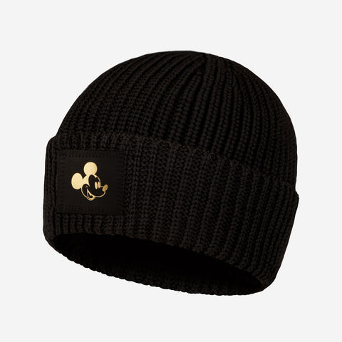 Pre-Order Black Mickey Mouse Gold Foil Lightweight Cuffed Beanie