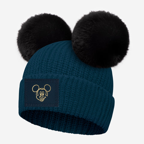 Mickey Mouse Kids Pond Blue Lightweight Double Pom Beanie