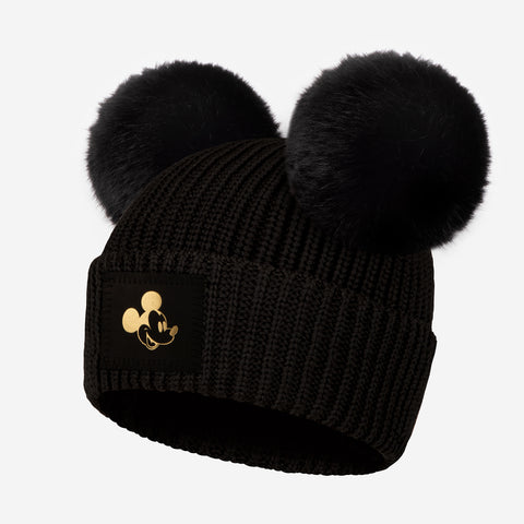 Pre-Order Black Mickey Mouse Gold Foil Kids Lightweight Double Pom Beanie