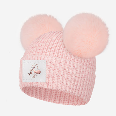 Pre-Order Blush Minnie Mouse Rose Gold Foil Kids Lightweight Double Pom Beanie