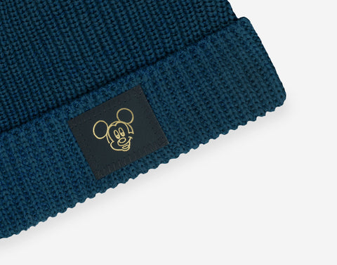 Mickey Mouse Pond Blue Lightweight Double Pom Beanie