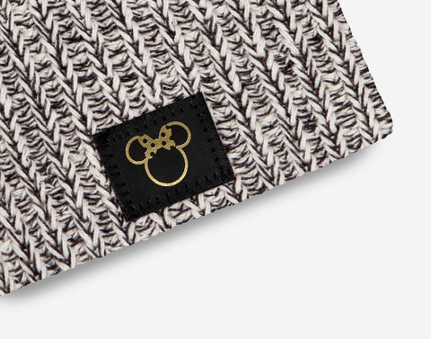 Minnie Mouse Black Speckled Gold Foil Cut Out Baby Beanie