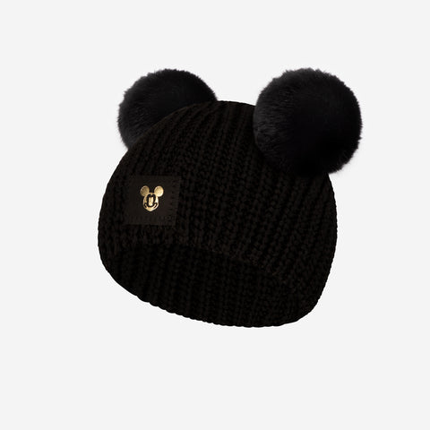 Black Mickey Mouse Double Pom Baby Beanie