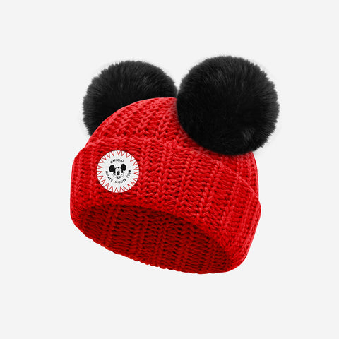 Mickey Mouse Club Baby Red Double Pom Beanie