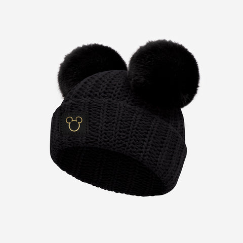 Mickey Mouse Black Gold Foil Cut Out Baby Double Pom