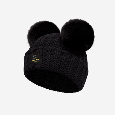 Mickey Mouse Black Gold Foil Face Outline Baby Double Pom