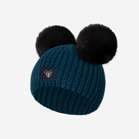 Mickey Mouse Pond Blue Lightweight Baby Double Pom Beanie